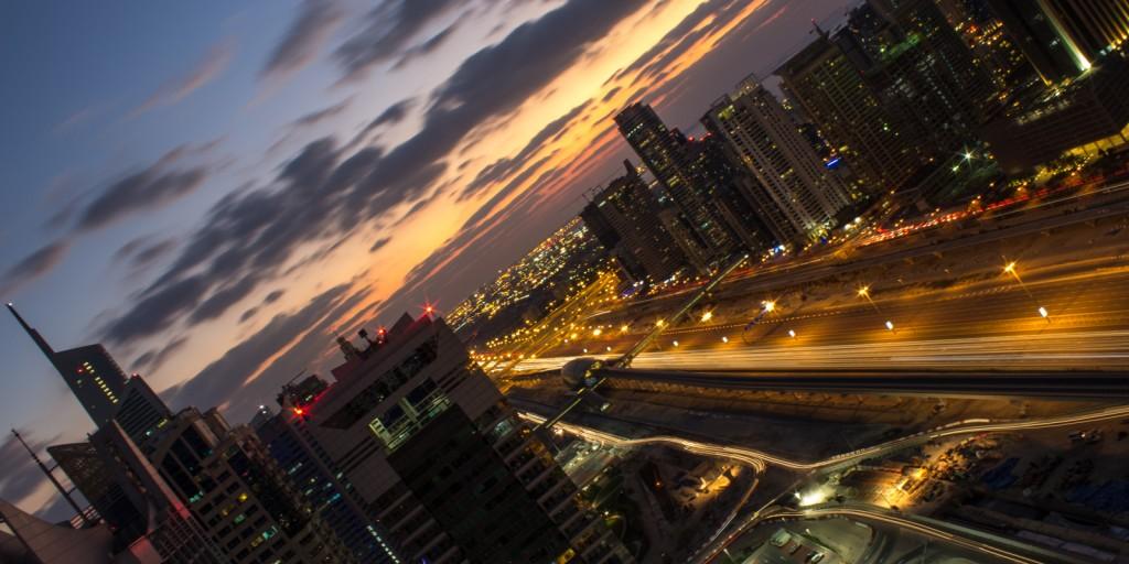 Skymning i Dubai downtown