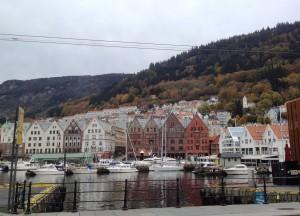 Magasinhus i Bergen i Norge