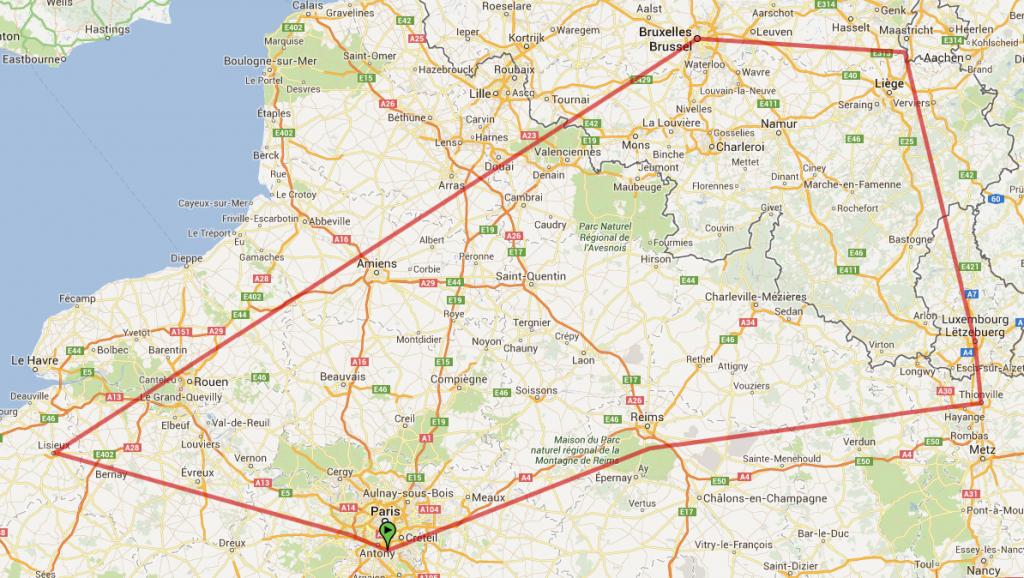 Karta över Frankrike, Belgien och Luxemburg