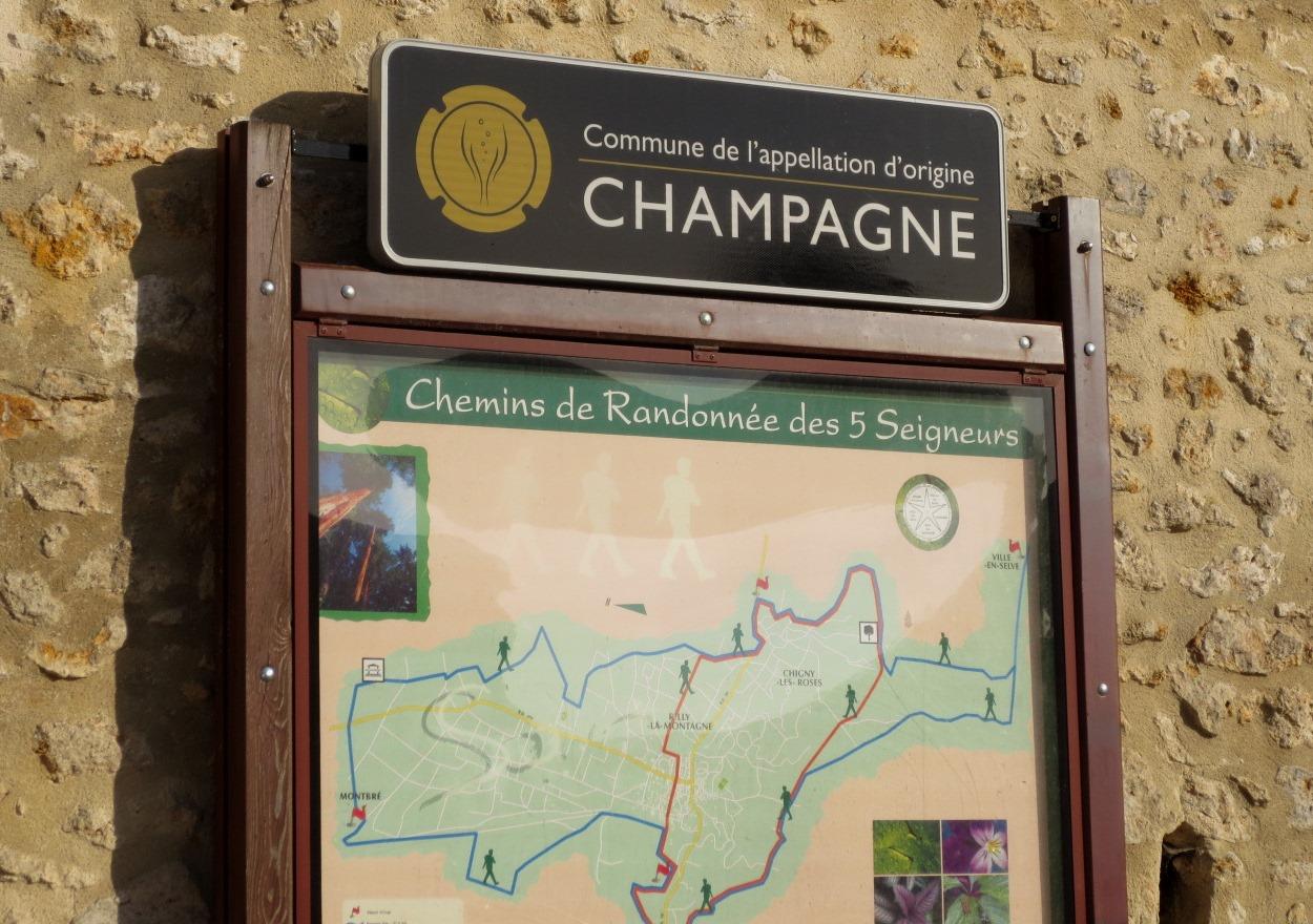 Karta över vinbyar i Champagne