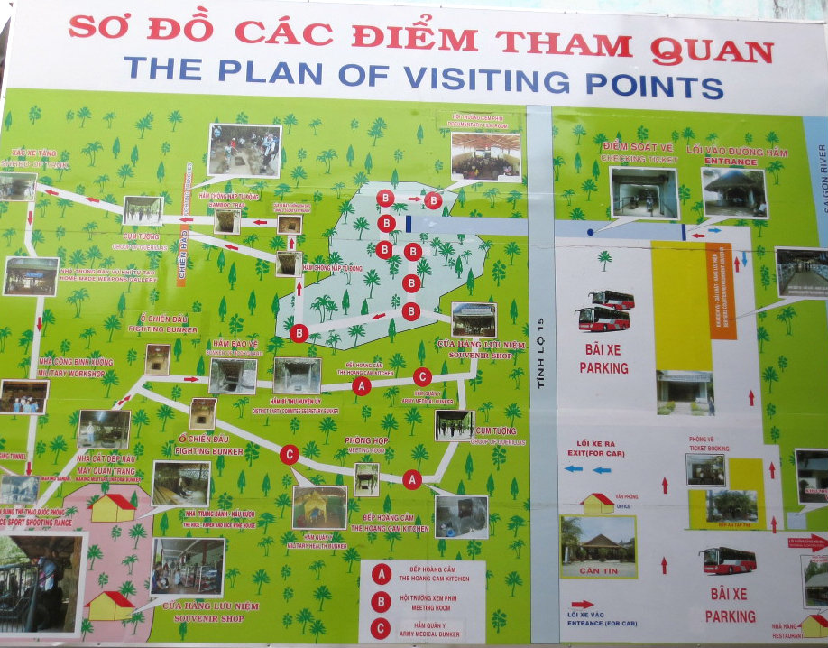 Karta över Cu Chi tunnlarna i södra Vietnam