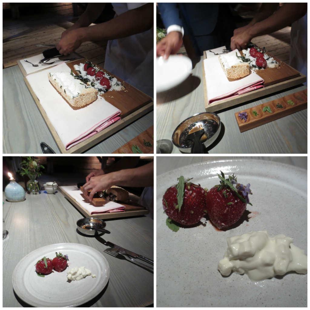 Jordgubbar bakade i limpa av pärlsocker (15 min) garnerade med färska kryddor och blommor