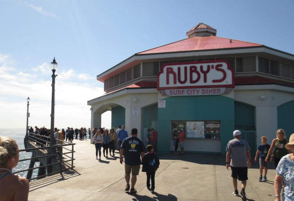 Matställe på piren i Huntington Beach